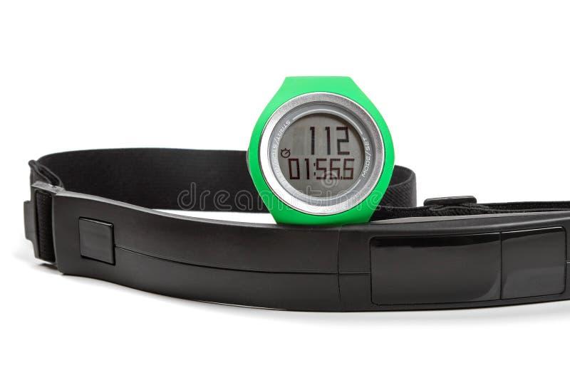 Ostente o monitor da frequência cardíaca, o relógio e a correia da caixa imagem de stock