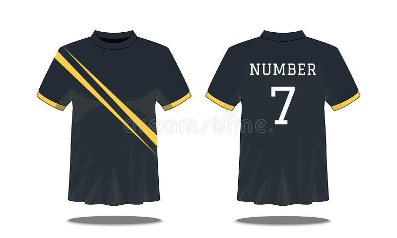 Ostente o t-shirt do ` s dos homens com a luva curto na parte dianteira e em vistas traseiras Enegre?a com listras amarelas e pro ilustração stock