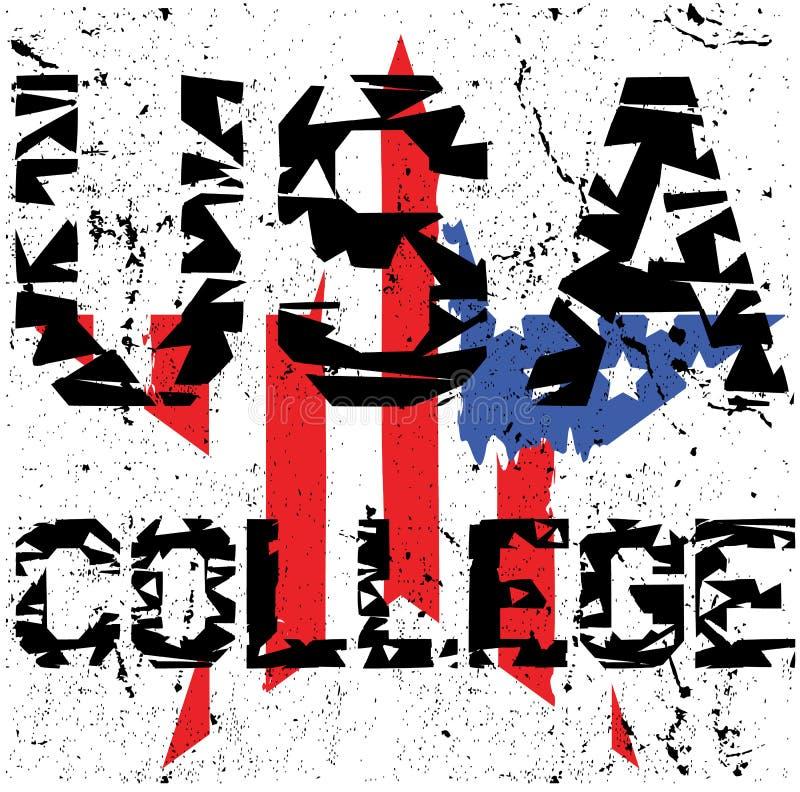 Ostente a tipografia atlética da faculdade, gráficos do t-shirt, vetores ilustração do vetor
