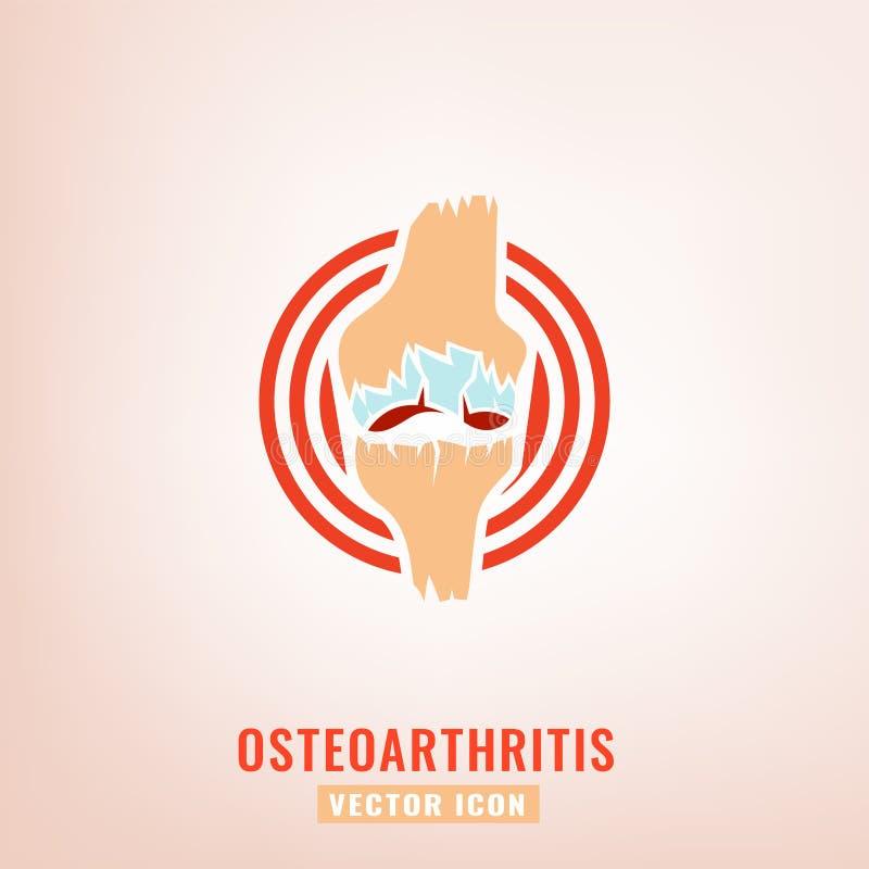 Osteoarthritis icon image. Osteoarthritis icon for medical design. Knee bones injury. Arthritis logotype in flat style. Leg pictogram. Rheumatism logo. Broken royalty free illustration
