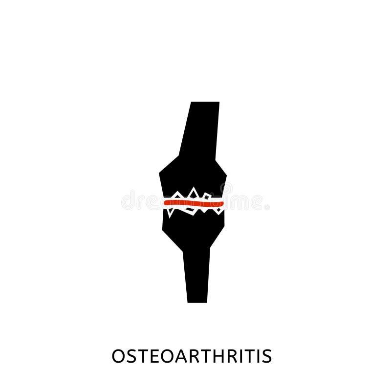 Osteoarthritis icon image. Osteoarthritis icon for medical design. Knee bones injury. Arthritis logotype in flat style. Leg pictogram. Rheumatism logo. Broken stock illustration