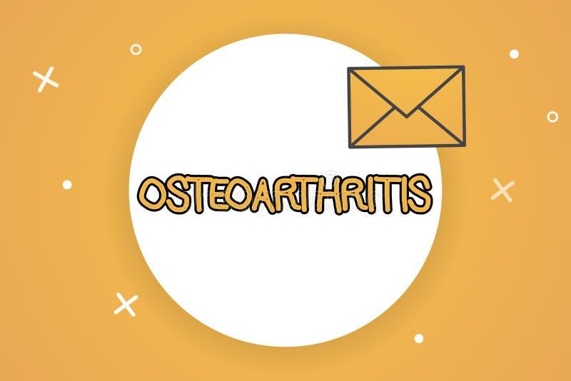 Osteoartrite del testo della scrittura Degenerazione di significato di concetto di cartilagine unita e dell'osso di fondo illustrazione di stock