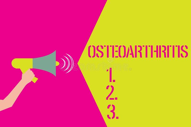 Osteoartrite del testo di scrittura di parola Concetto di affari per degenerazione di cartilagine unita e dell'osso di fondo illustrazione di stock
