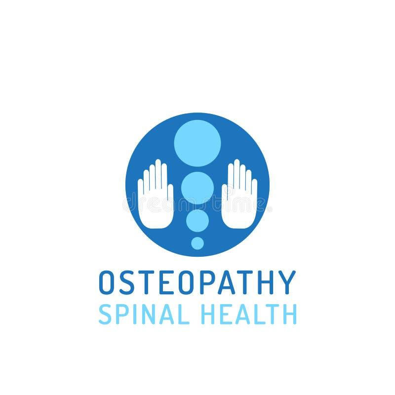Osteopatía plana del logotipo ilustración del vector