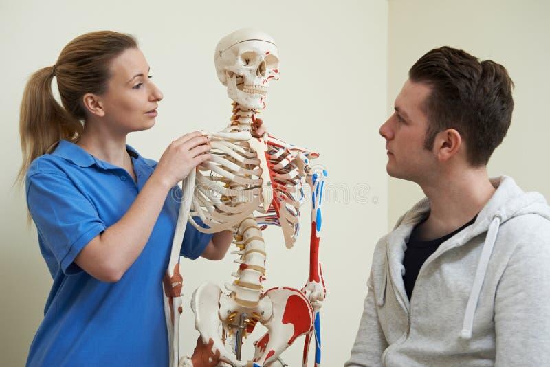 Osteopat som diskuterar skada med det tålmodiga användande skelettet royaltyfria foton