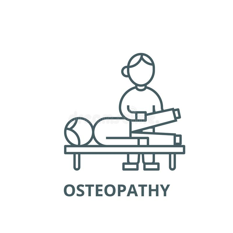 Osteopathy, terapia manual, linha ícone do vetor da massagem, conceito linear, sinal do esboço, símbolo ilustração stock