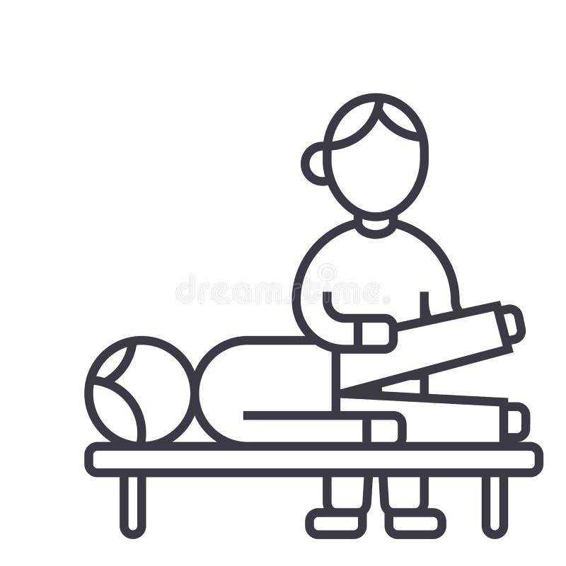 Osteopathy, terapia manual, linha ícone do vetor da massagem, sinal, ilustração no fundo, cursos editáveis ilustração do vetor