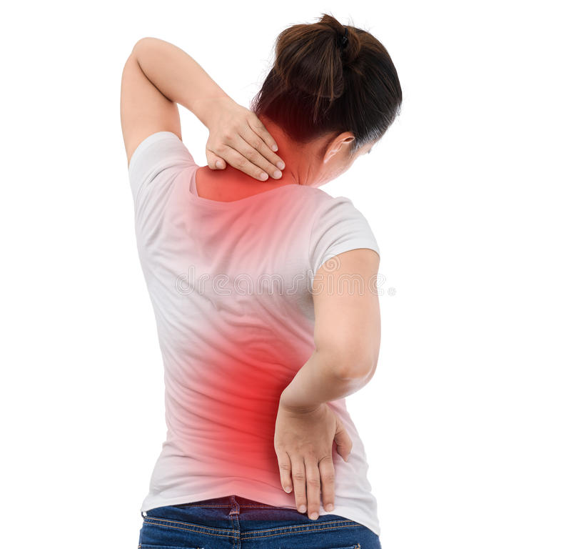 Osteoporose da espinha scoliosis Problemas da medula espinal no b da mulher fotos de stock