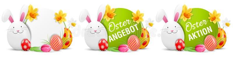 Oster Angebot, os botões da oferta da ação da Páscoa de Oster Aktion ajustados com coelhinho da Páscoa e os ovos da páscoa pintad ilustração stock