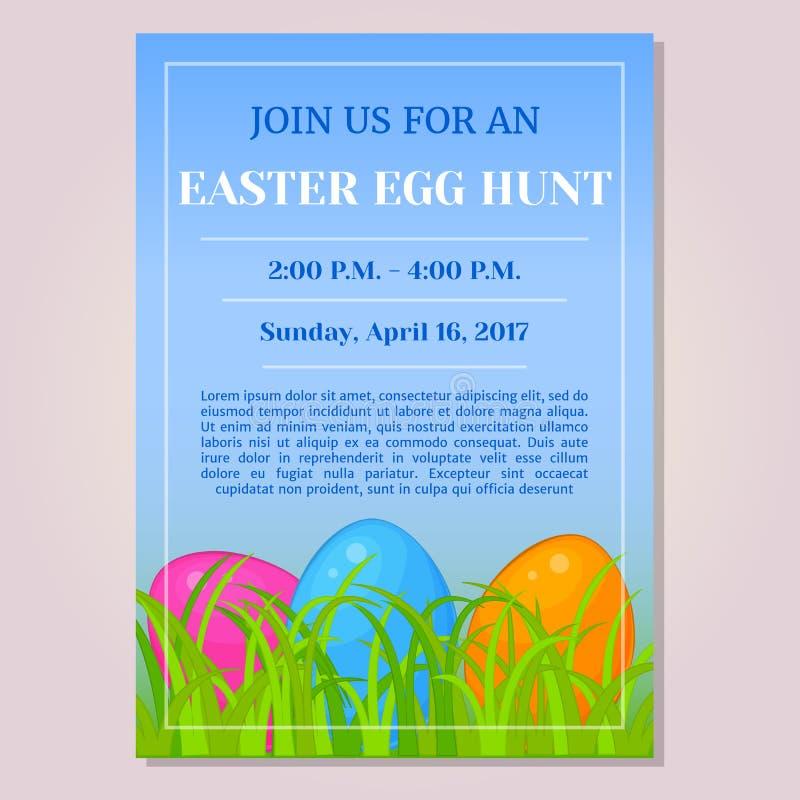 Osterei-Jagdeinladungs-, -flieger-, -plakat- oder -plakatschablone mit verschiedenen Eiern im Gras in der Karikaturart Vektor lizenzfreie abbildung