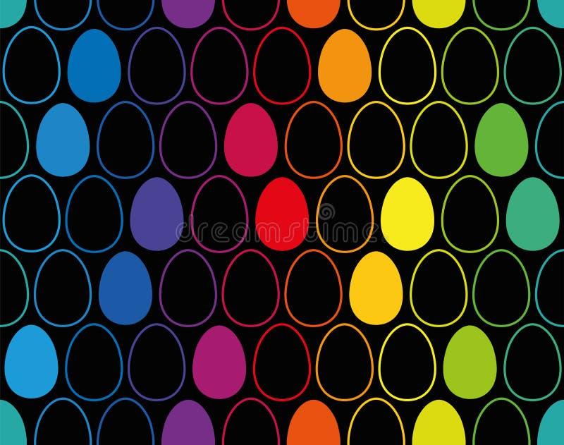 Osterei-Tapeten-Muster-nahtloser schwarzer Hintergrund lizenzfreie abbildung