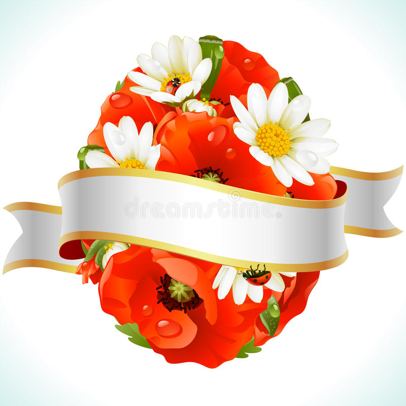 Osterei von den Blumen von camomiles und von Mohnblumen vektor abbildung