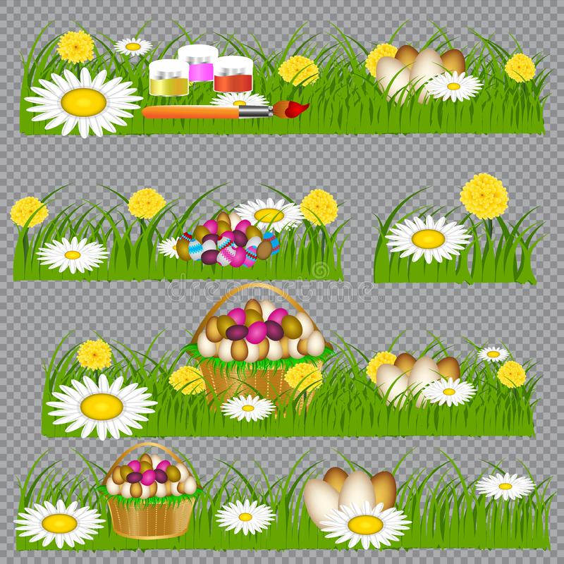 Ostereier auf dem gr?nen Gras vektor abbildung