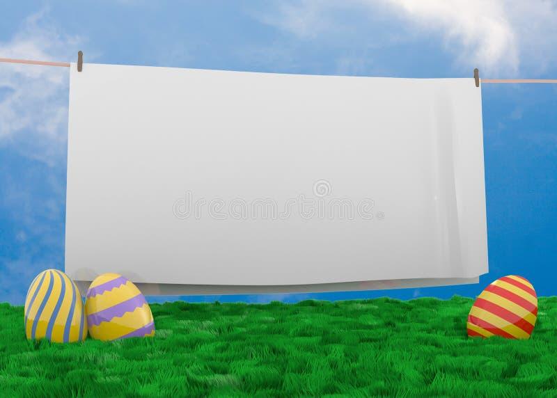 Ostereier, die im üppigen Gras liegen stockbild