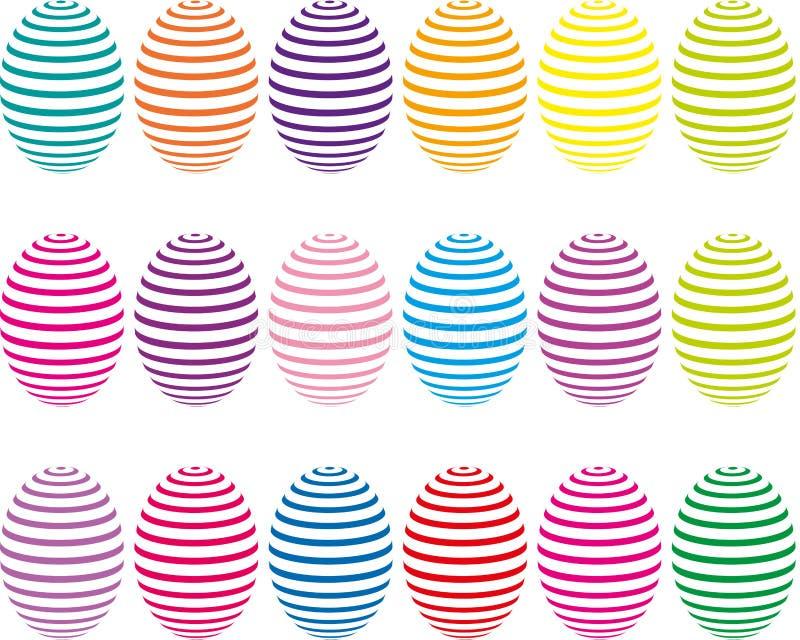 Ostereier in einem mehrfarbigen Streifen lizenzfreie abbildung
