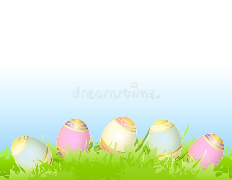 Ostereier im grünen Frühlings-Gras vektor abbildung