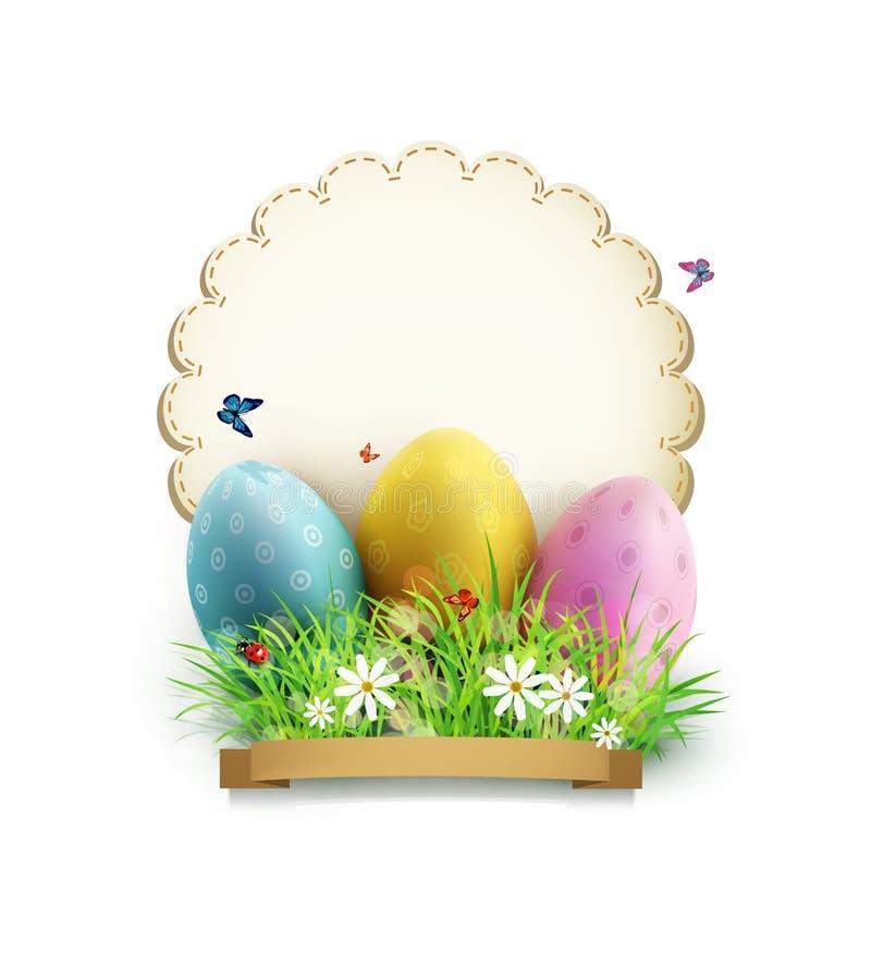 Ostereier im grünen Gras mit weißen Blumen, Schmetterlinge, Weinlesekarte für Glückwunsch stock abbildung