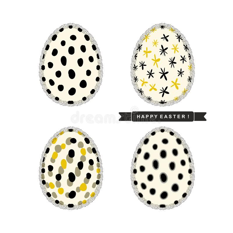 Ostereier mit abstraktem Muster und Trauerflor mit Text ` fröhliche Ostern! ` lokalisiert auf weißem Hintergrund Vektordesignsatz vektor abbildung