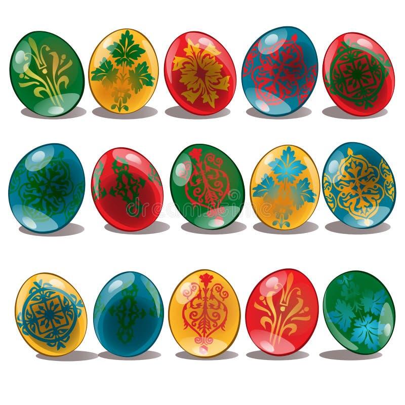 Ostereier mit ethnischem und Blumenmustergelb, Rot, Blau, grüne Farbe Feiertags-Symbole Vektorabbildung getrennt lizenzfreie abbildung