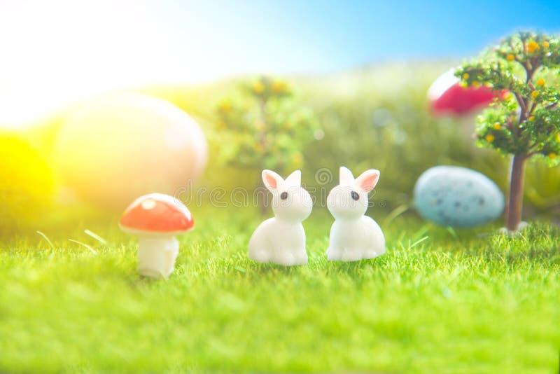 Ostereier und Kaninchen Feiertagsnaturkonzept mit Ostern-Jagd Eier in der sonnigen Wiese stockfotos