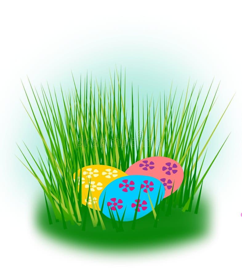 Ostereier versteckt im Gras stock abbildung