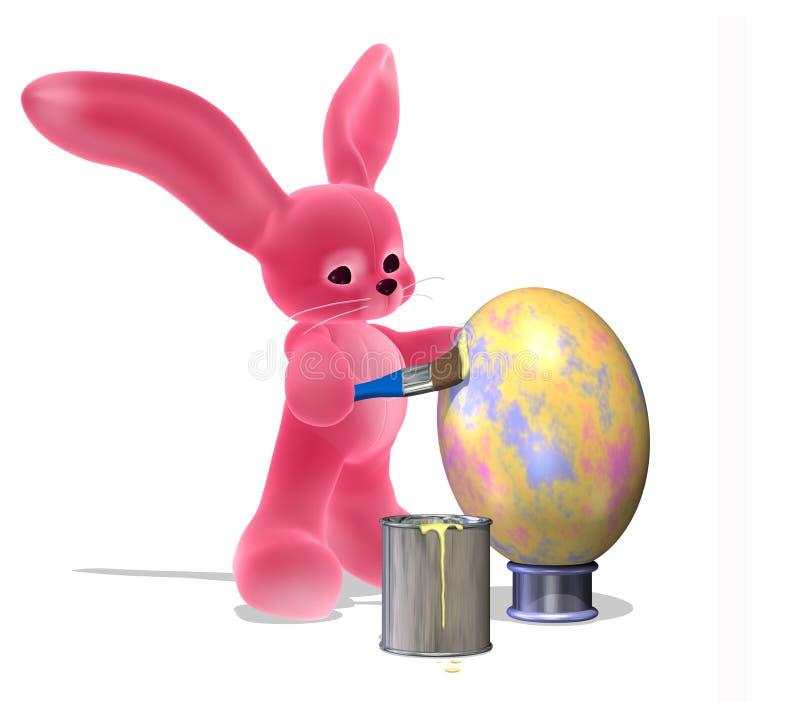 Osterhase, der ein Ei malt stock abbildung