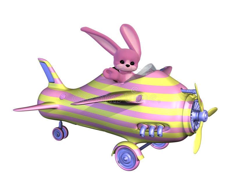 Osterhase, der ein Flugzeug fliegt stock abbildung