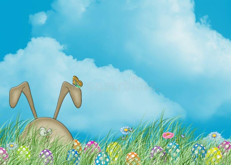 Osterhase, der im Gras sich versteckt lizenzfreie abbildung