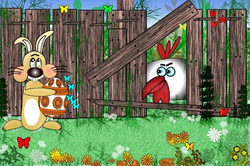 Osterhase mit Ei nahe einem Bretterzaun in der Wiese Hahn, der über einen Zaun sitzt lizenzfreie abbildung