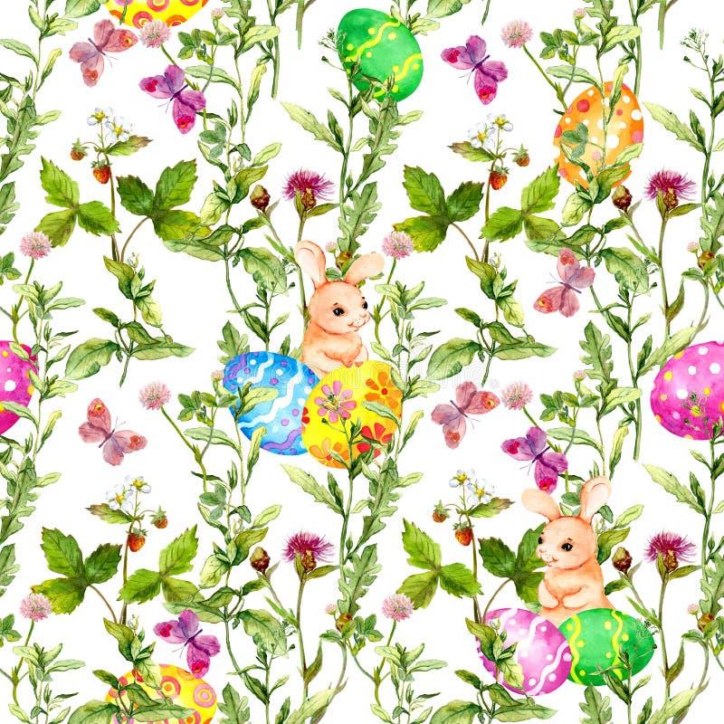 Osterhase mit farbigen Eiern im Gras, Blumen, Schmetterlinge Nahtloses Blumen-Ostern-Muster mit Eijagd watercolor stock abbildung