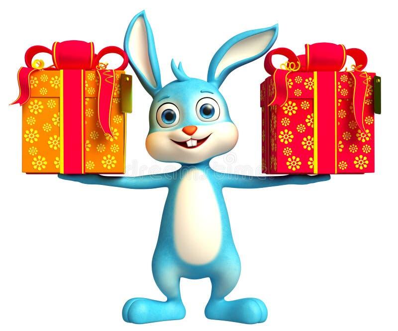 Osterhase mit giftbox stock abbildung