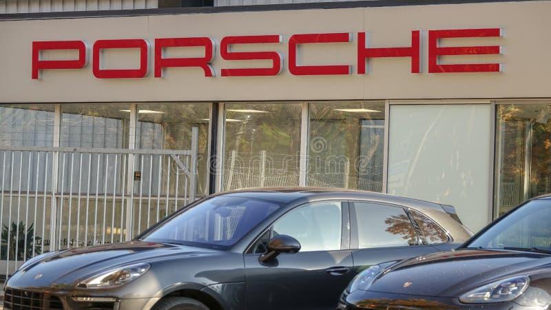 Ostermalm Porsche för tjänste- mitt fotografering för bildbyråer