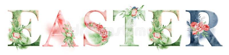 Ostern-Aquarellwortdesign mit Blumensträußen und Krone Hand gezeichnete Beschriftung, Typografieaufschrift Anspornungsaufkleber vektor abbildung