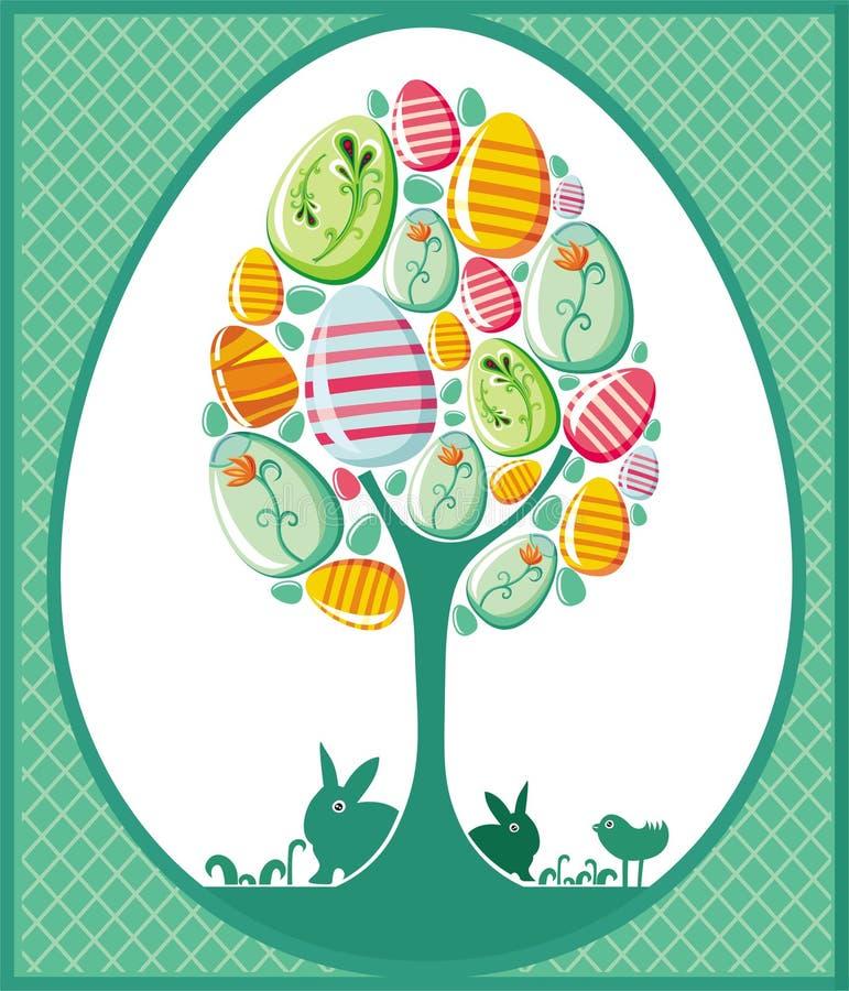 Ostern-Baumkarte stock abbildung
