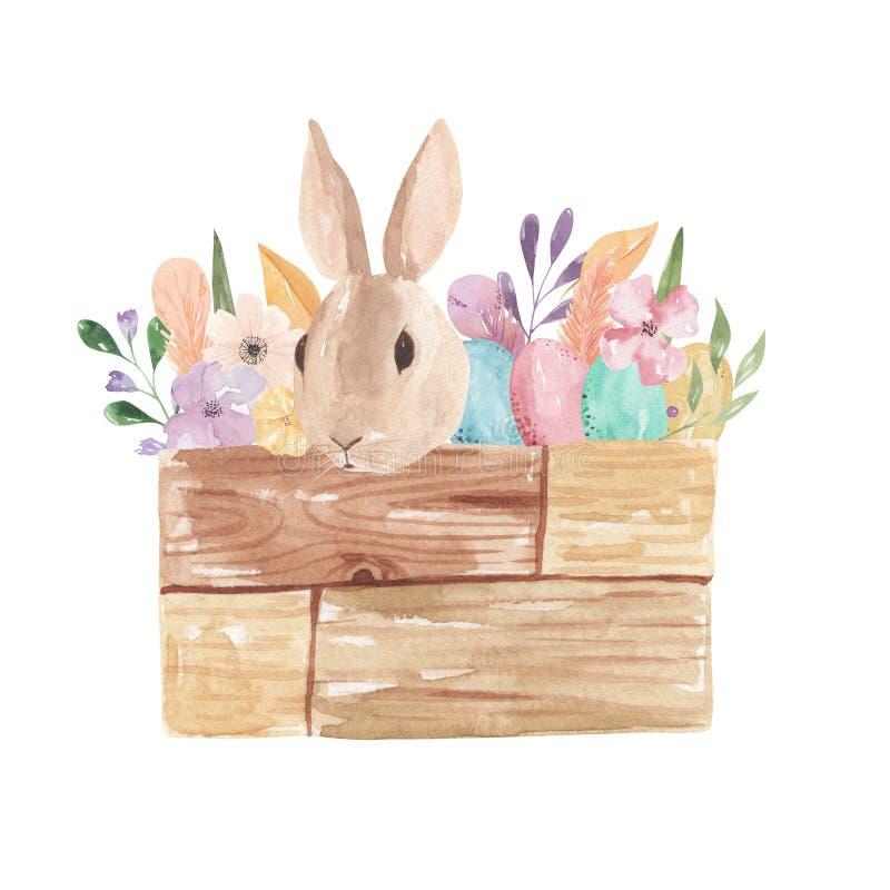 Ostern Bunny Watercolor Eggs Pastel Florals lässt Rosa-Federn mit Blumen stock abbildung