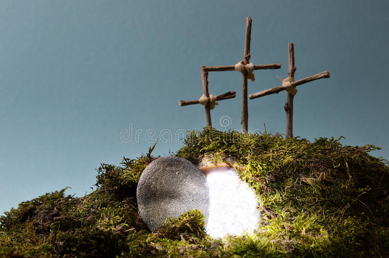 """Ostern-Dekoration †""""Auferstehungsgarten stockbild"""