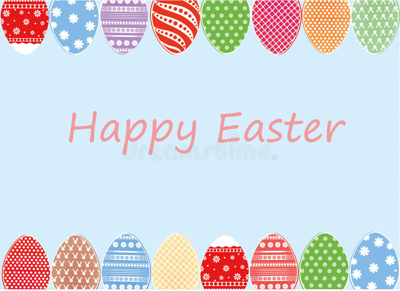 Ostern färbte Eier mit einem Muster r Freier Platz für Text vektor abbildung