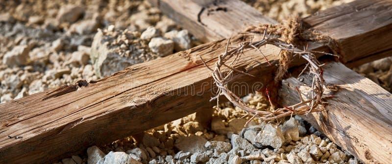 Ostern-Fahne, welche die Kreuzigung gedenkt stockbild