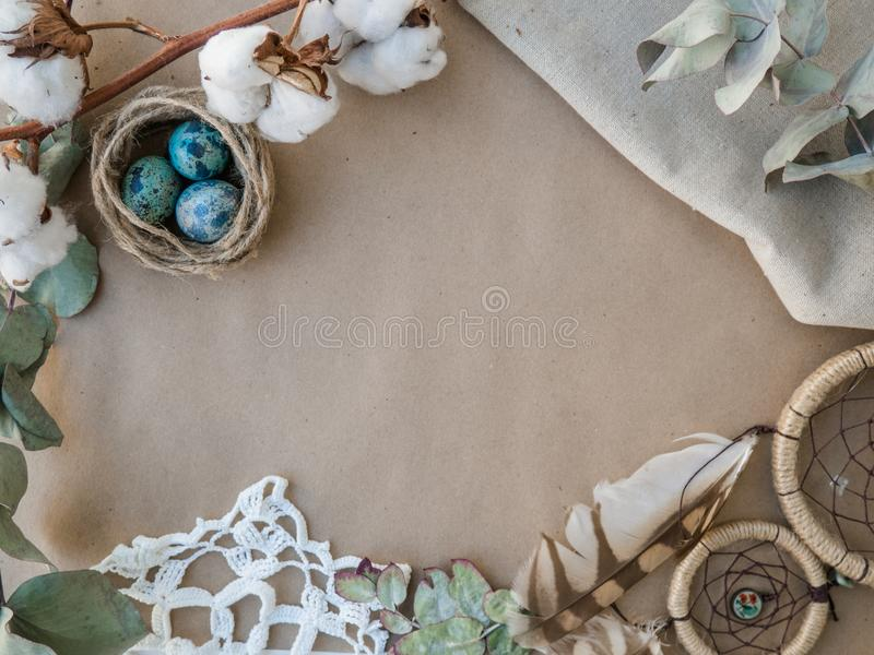 Ostern-Feiertagsdekorationen, Ostern-Konzepthintergrund stockfoto