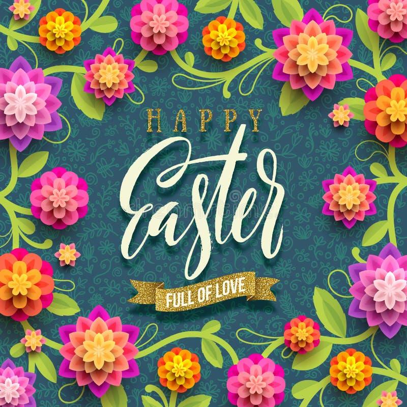 Ostern-Grußkarte mit Funkelngoldband und Papierblumenhintergrund lizenzfreie abbildung