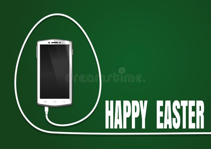 Ostern-Grußkarte mit realistischem Smartphone lizenzfreie abbildung