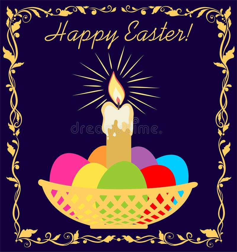 Ostern-Grußmarineblaukarte mit goldener Kerze und Strahlen, Korb mit gemalten Eiern und Blumenvignette vektor abbildung