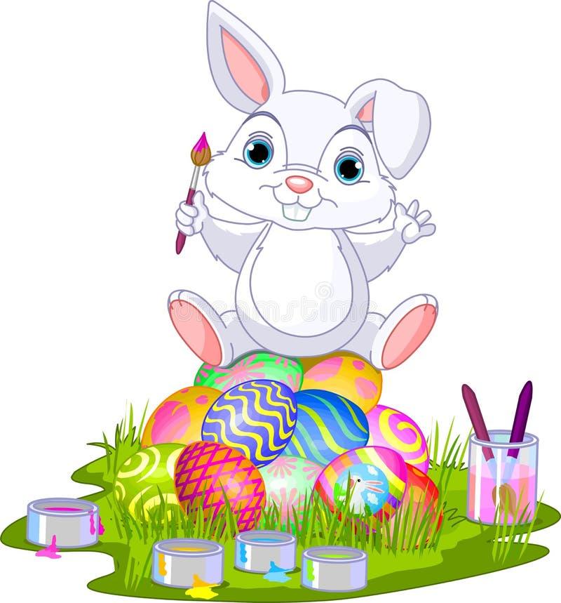 Ostern. Häschen, Das Auf Eiern Sitzt Vektor Abbildung