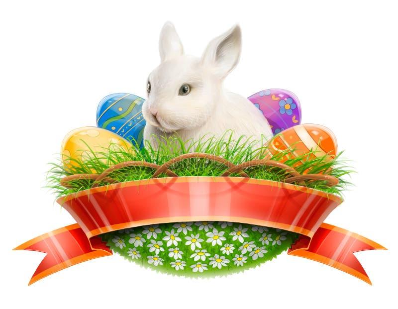 Ostern-Häschen im Korb mit Eiern lizenzfreie abbildung