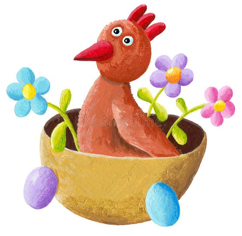 Ostern-Henne im Korb lizenzfreie abbildung