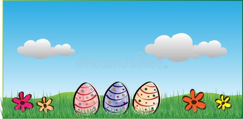 Ostern-Hintergrund mit Eiern, Blumen und Wolken stock abbildung