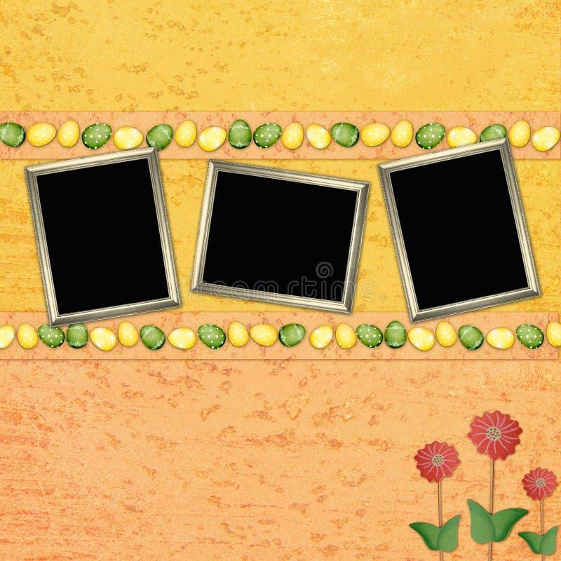 Ostern-Hintergrund mit Farbeneiern und -feldern stock abbildung