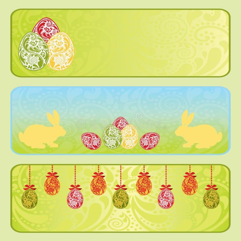 Ostern-horizontales Fahnenset. lizenzfreie abbildung