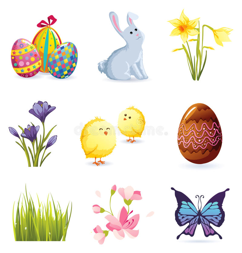 Ostern-Ikonenset stock abbildung