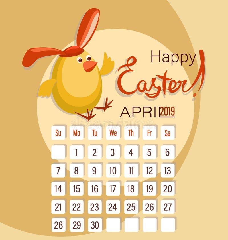 Ostern-Kükenhasen und -kalender für den Monat April Fröhliche Ostern vektor abbildung